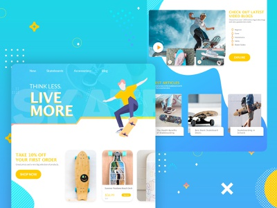 Skateboard Web Design Interface flat design skateboarding skate branding ux illustration ui user interface