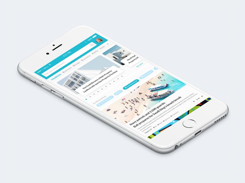 News App - Home Screen 1/3 medium app hoax detikcom kumparan clean hashtag trending ux article news feed ios app ui news app