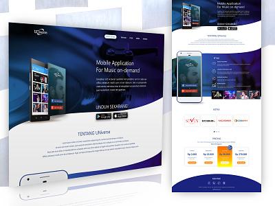 Landing Page Radio Streaming App 1/2 pricing plan spotify joox apple music streaming app radio app music app landing page web design web ui user interface