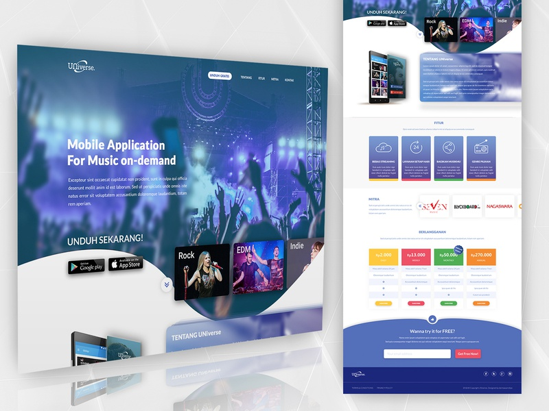 Landing Page Radio Streaming App 2/2 concert logo web design pricing music app radio app uidesign home page landing page spotify joox apple music