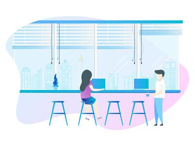 StartUp Co Working Space office open space jakarta team illustration startup city scape flat design design