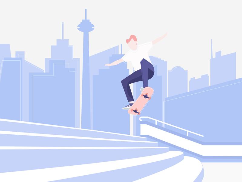 Man Performing Skateboard Trick flat  design invite street art tower building skater sketch character city scape illustration