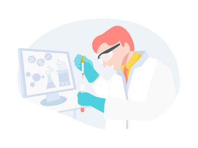 Scientist Doing Research With Chemistry Liquid vector monitor pharmacy medicine laboratory experiment researcher chemical element biology analyzing illustration