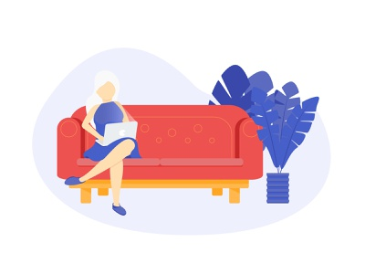 White Haired Businesswoman Sitting on Sofa with Laptop illustration vector laptop woman illustration flat  design sofa sneaker cafe character blond dresses plant office