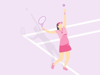 Cute Gal Playing Tennis On Field Illustration Vector