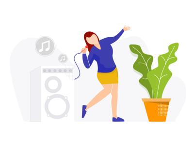 Woman Singing Karaoke Illustration (Illustrasi Biduan Dangdut)