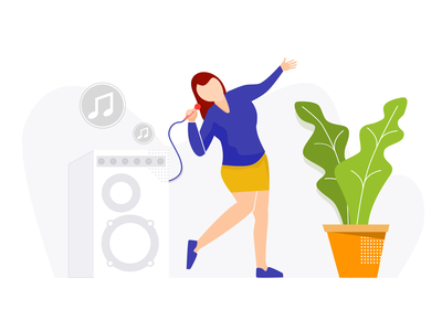 Woman Singing Karaoke Illustration (Illustrasi Biduan Dangdut) character plant speaker concert karaoke night music dangdut 2d design flat design adobe illustrator sketchapp illustration
