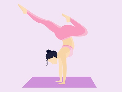 Young Gal Practice Yoga Illustration