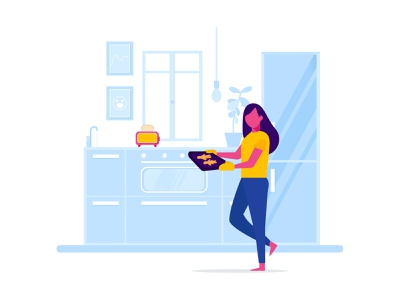 Cute Chef Cooking In The Kitchen refrigerator sink cabinets kitchen tools cookware cooking decoration plant toaster girl kitchenware character design muffin man bake kitchen vector flat design illustration