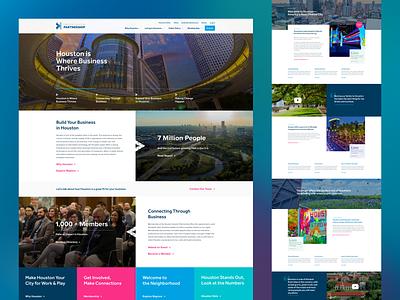 Greater Houston Partnership Website city business corporate geometric navy houston website ui design ui