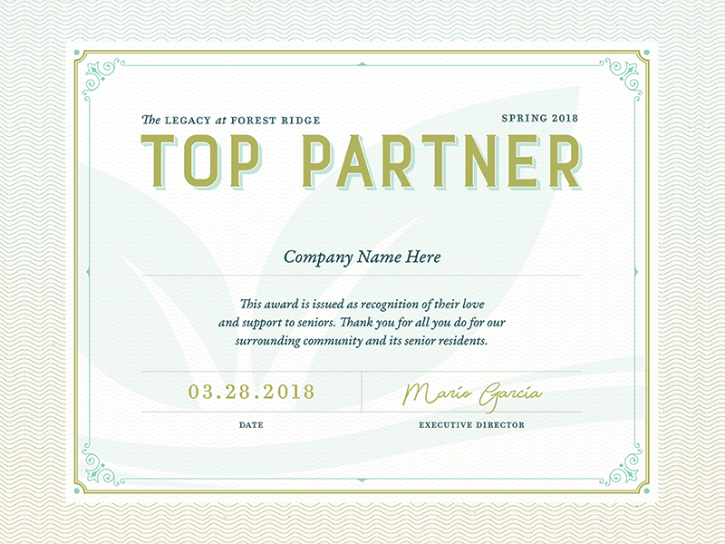 Top Partner Certificate By Marley Allen Holt Dribbble Dribbble