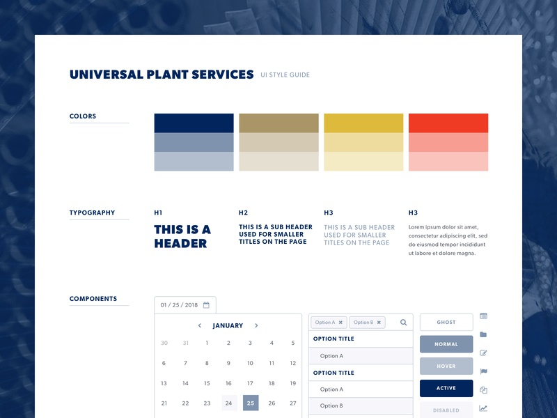Universal Plant Services UI Style Guide