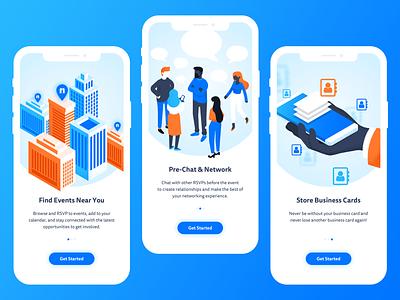 App Onboarding Illustrations events app design chat business card city networking ui illustration onboarding app