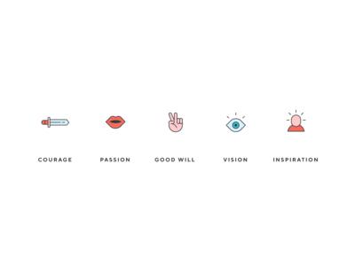 Core Values Design Stickers
