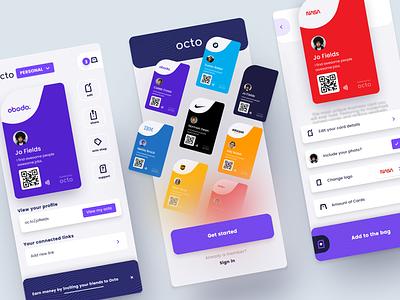 O - Smart Business Cards - App card business cards business card ui mobile ui mobile app mobile app design app