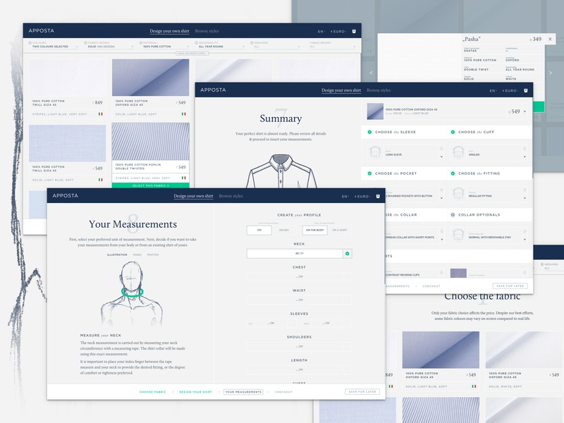 Apposta - Initial view web ui poland tailor design initial ecommerce