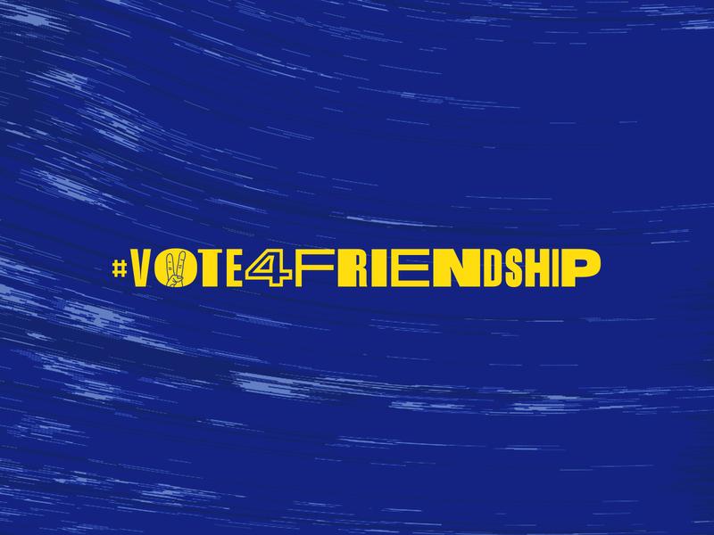 Vote For Friendship hand sign europe poland wip logo typography friendship vote