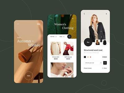 Clothes App concept catalogue application stuff clothes cloth product shop store fashion ux ui minimal flat design app mobile