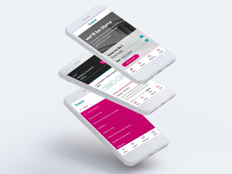 icare NSW Mobile First Design clean identity minimal flat app sketchapp photoshop branding typography website web ux ui design mobile