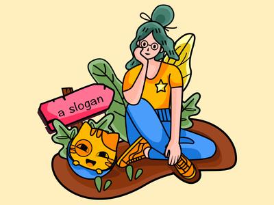 Used for interface display slogan girl illustration