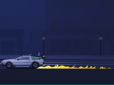 Back in time timeline delorean car back time fire time travel illustration back to the future