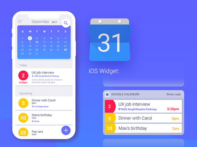 Google Calendar App redesign tasks widget ui calendar redesign ios mobile app