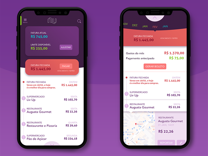 Nubank app redesign account map expenses credit card redesign banking ux ui mobile app