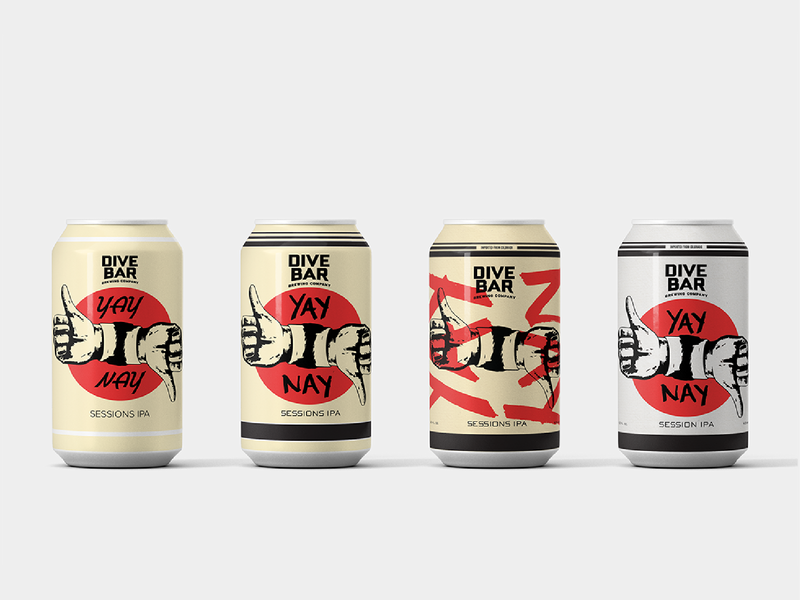 Yay or Nay IPA Can Design Variants brewery local colorado denver mockup label design beer can