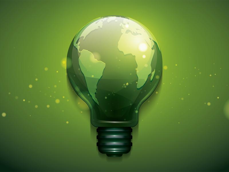 bulb earth, go green illustration environment earth bulb go green design illustration vector