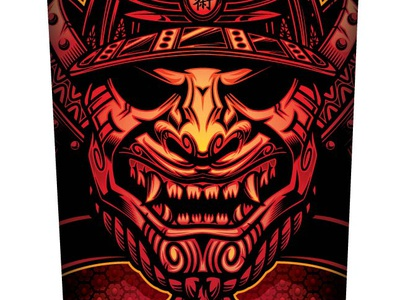 Samurai Rash Guard Front apparel design mask samurai