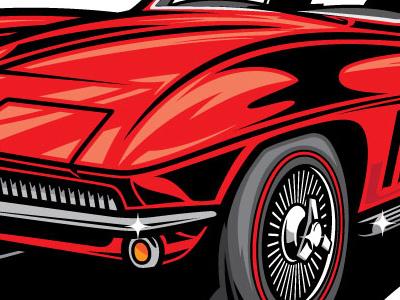 60's Corvette illustration cartoon automotive 1960s corvette