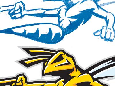 Killer Wasp stock image mascot wasp