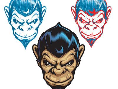 Fierce Monkey vector sketch head monkey