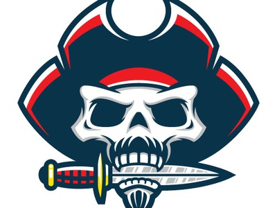 Pirate Skull Mascot logo knife sports mascot skull pirate