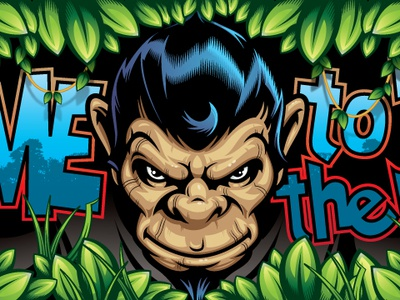 Welcome To The Jungle Banner leaves jungle banner monkey