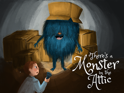 Illustrated Monster Book Cover cover book drawing attic night dark boxes flashlight boy character monster illustration
