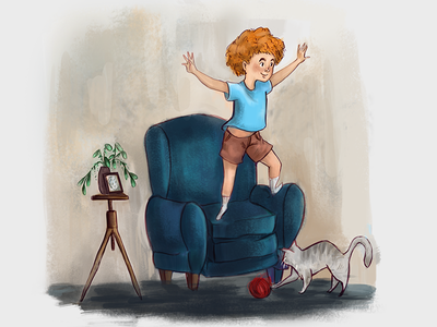 Children's Story Illustration childrens book book cover book illustration imagination plant cat couch chair child boy