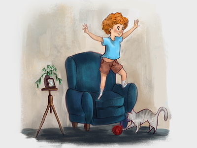 Children's Story Illustration childrens book book cover book illustration imagination plant cat couch chair child boy