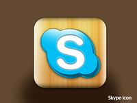 Skype wooden icon