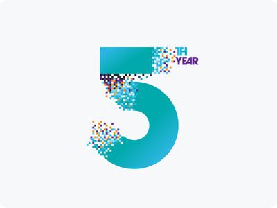 5 Aniversary type logo 5year