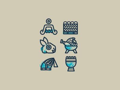 Anepalco aztec simbols codice cuisine mexican modern traditional logo icons restaurant