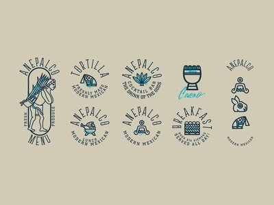 Anepalco bay codice cuisine mexican modern traditional logo icons restaurant