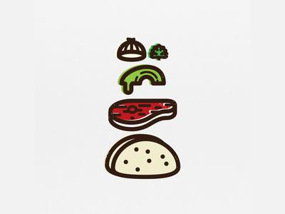Taco de  Carne Asada guacamole deconstructed icon mexican iconography digital 2d taco