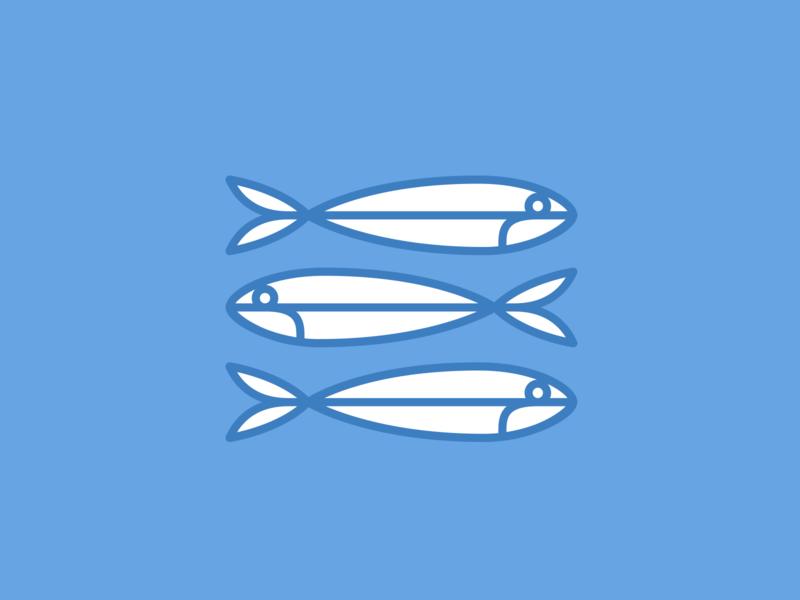 Sardines sardines woodmark design iconography digital illustration logo icon