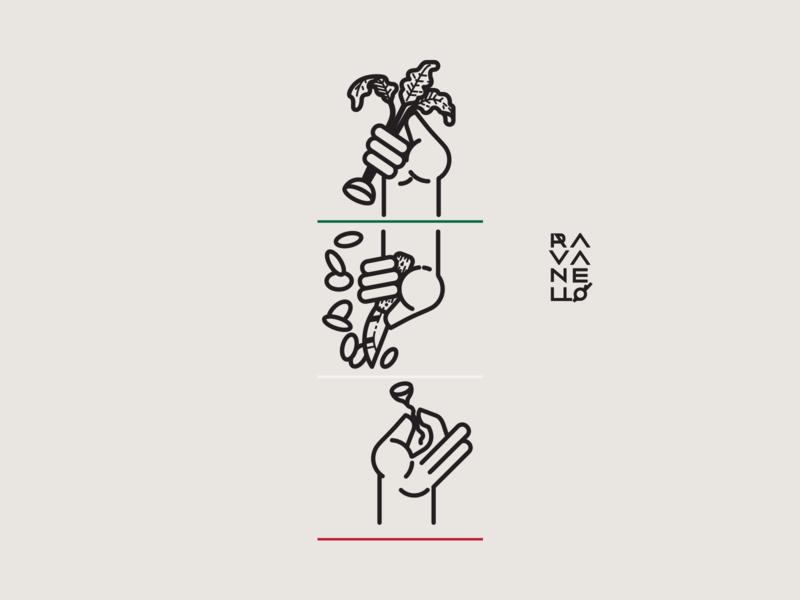 ravanello branding design vector knife hand naiming popup radish italian food digital illustration iconography logo icon