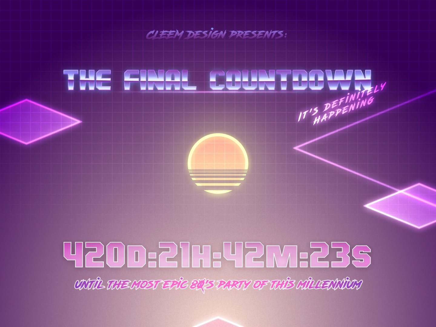 Daily UI #014: Countdown Timer epic countdowntimer countdown countdown timer 80s style 80s party 014 daily ui 014 ux vector ui design dailyui figma daily challange application
