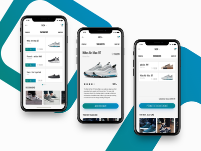Sneakers E-Commerce Mobile App freebie e-commerce adobe xd ios app design interaction design user interface ui ux shopping sneakers iphone x