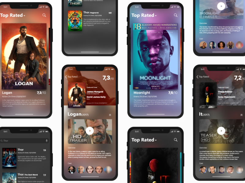 Movies Database Mobile App iphone x movie movies ux ui user interface interaction design app design ios11 adobe xd database freebie