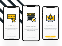 Onboarding Screens freebie screens adobe xd ios11 app design interaction design user interface ui ux yellow onboarding iphone x