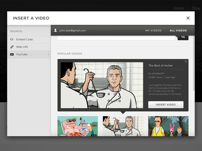 Add Video barley ui interface bold modal youtube content management